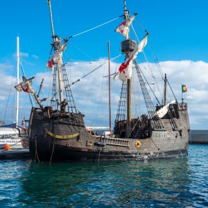 historic Santa Maria replica ship for tourist tours in harbor of Madeira Portugal