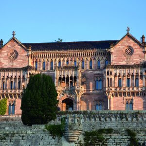 Palace of Sobrellano in Comillas at sunset, Santander, Spain