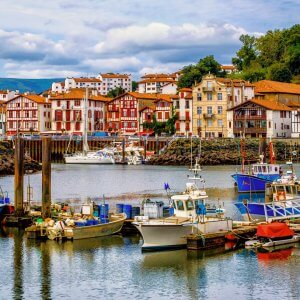 Colorful basque houses in port of Saint-Jean-de-Luz, France